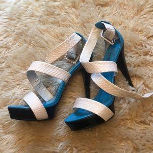Bebe heels - blue, ivory/white, black
